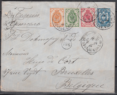 Carta Postal Dirigida A Bélgica, Franqueo Múltiple. - 1857-1916 Imperium