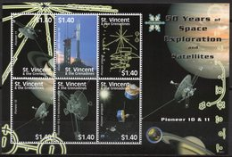 St Vincent 2008 - Exploration Spatial, Satellites, Pioneer - BF 6 Val Neuf // Mnh - St.Vincent & Grenadines