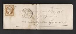 Napoléon 13 A Du 28/1/1861 GC PC 754 De Charolles Vers Marcilly La Gueurce - Postmark Collection (Covers)
