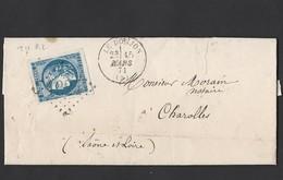 46 émission Bordeaux T2 R2 TAD Type 16 Le Donjon Du 15/3/1871 Vers Charolles - Postmark Collection (Covers)
