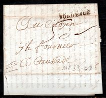 MP33-07 : Dept 33 (Gironde) MP BORDEAUX 1793 > Taxe Manuscrite > Lettre Pour CAUSSADE 82 - Postmark Collection (Covers)