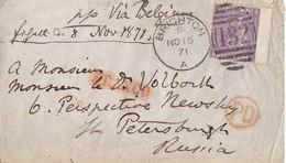 Timbre 6 P.sur Lettre De Brighton Pour St Petersbourg , Russie ;1871 , 2 Scans - 1840-1901 (Victoria)