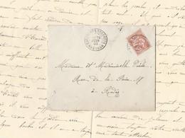 Mouchon 125 15c Vermillon Sur Enveloppe Avec Correspondance De Cassagnes -Begonhes 29/6/1903 Vers Rodez - Postmark Collection (Covers)