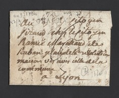 LAC Marque Linéaire 70 CHAGNY De 1794 Vers LYON ( Citoyen Marchand De Rubans Révolution) Indice 7 - Postmark Collection (Covers)