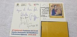 Alghero Sassari Sardegna Circolo Algherese Modellismo E Collezionismo Natale 2018 Annullo Cartolina Ufficiale - Briefmarkenausstellungen