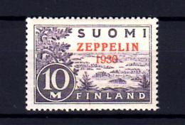 1930   Finlande, Avion Surchargé ZEPPELIN,  PA 1*, Cote 150 € - Ongebruikt