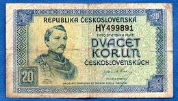 Tchécoslovaquie  - 20 Korun 1945   - état  TB - Czechoslovakia