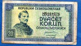 Tchécoslovaquie  - 20 Korun 1945   - état  TB - Tchécoslovaquie