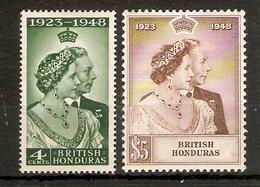 BRITISH HONDURAS 1948 SILVER WEDDING SET MOUNTED MINT Cat £28+ - Honduras Britannique (...-1970)