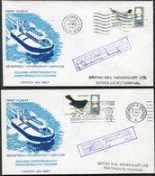 1967 GB 2 X Portsmouth / Cowes, I.O.W. First Flight British Rail Seaspeed Hovercraft Covers - SIGNED - 1952-.... (Elizabeth II)