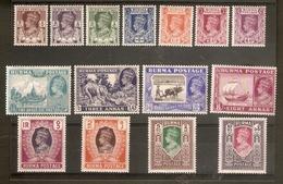 BURMA 1946 CIVIL ADMINISTRATION SET SG 51/63 MOUNTED MINT Cat £60 - Burma (...-1947)