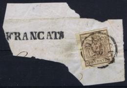Lombardo Veneto Sa 8 On Fragment Mantova 16-4-1851 Cancel FRANCATA - Lombardo-Veneto