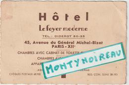 Vieux Papier : Carte : Hotel  Lefoyer Moderne à PARIS 12 Em - Cartes De Visite