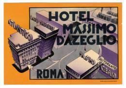 """Etiquette Label Hotel """"Massimo D'Azeglio"""" Roma, Italie - Etiquettes D'hotels"""