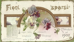 """3387 """" FIORI SPARSI-CALDENDARIO DEL 1902 """" INCOMPLETO-SOLO MESE DI GENNAIO-ORIGINALE - Calendars"""