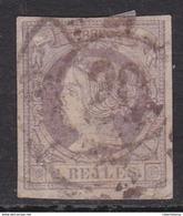 ESPAÑA 1860 - Isabel II Sello Usado 2 Reales Lila Edifil Nº 56 Rueda De Carreta Nº 20 De Bilbao - 1850-68 Royaume: Isabelle II