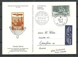 Schweiz Solothurn 1913 Flugpost Neudruck Aud Postkarte France Reims To Solothurn Th Borrer  1964 - Airmail