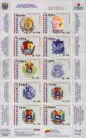 Lote V2009-5, Venezuela, 2009, Escudos, 1830 A 2006, Mini Pliego, Sheet, Coat Of Arms - Venezuela
