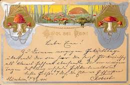 Champignons - Glück Sei Dein (1901) (bord Argenté, Gauffré) - Funghi