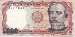 BILLETE DE PERU DE 5000 SOLES DE ORO DEL AÑO 1985 EN CALIDAD EBC (XF) (BANK NOTE) - Peru