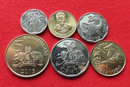 Swaziland Set 10 20 50 Cents 1 2 5 L 2015    Unc - Swaziland