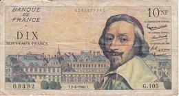 BILLETE DE FRANCIA DE 10 FRANCOS DEL 2-6-1960 RICHELIEU (BANKNOTE) - 1959-1966 ''Nouveaux Francs''