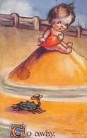Go Away - Crabe Au Chapeau Gamine Effrayée Flora White, Celesque Series - Cartes Humoristiques