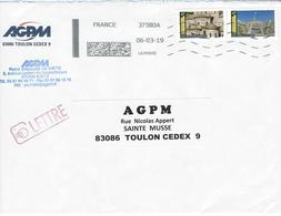 PEU COURANT GROS TRAIT VERTICAL SUR OBLITERATION DATAMATRIX. Timbres De Carnet - Poststempel (Briefe)