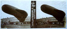 WW1 - PHOTO STEREO SUR PLAQUE DE VERRE - BALLON D'OBSERVATION AEROSTIER AEROSTATION - MILITAIRE - ANIMEE - 10,6 X 4,4 Cm - Glasdias