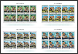 GUINEA 2018 - Leopards, 4 M/S. Official Issue - Félins