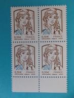 TIMBRE : No:5234 , MARIANNE Et La JEUNESSE,surchargée 2013-2018 Bloc De 4 Bas De Feuille,2018,XX,timbres Bon état - 2013-... Marianne De Ciappa-Kawena
