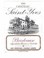 Rare Etiquette De Vin // Bordeaux // Château Saint-Yves // 1986 - Bordeaux