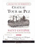 Rare Etiquette De Vin // Bordeaux // Château Tour De Pez // Saint-Estephe // 1986 - Bordeaux