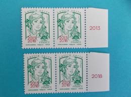 TIMBRE : No:5235 , MARIANNE Et La JEUNESSE,surchargée 2013-2018 Bloc De 2X 2 Bord De Feuille,,XX,timbres Bon état - 2013-... Marianne De Ciappa-Kawena