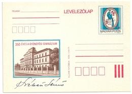 0600b Hungary Postcard Architecture Building School Animal Bird Peacock Unused - Paons