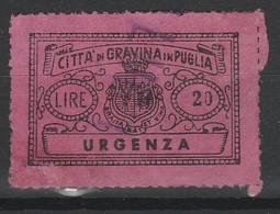 Gravina Di Puglia. Marca Municipale URGENZA  L. 20 - Italie