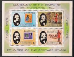 Zambia - 1980 - Bloc Feuillet BF N°Yv. 8 - Rowland Hill / London 80 - Neuf Luxe ** / MNH / Postfrisch - Rowland Hill
