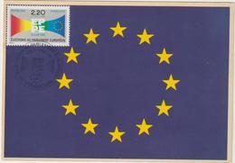 Carte-Maximum FRANCE N° Yvert 2572 (PARLEMENT EUROPEEN) Obl Sp Ill 1er Jour (Ed La Cigogne 482.33) RRR - Maximum Cards