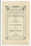 Program - Portugal - Orpheon Portuense - 8 Maio 1934 - Alfred Cortot - Programmes