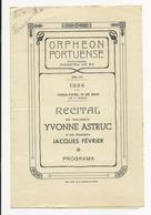 Program - Portugal - Orpheon Portuense - 15 Maio 1934 - Yvonne Astruc - Programmes