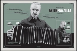 ! ARGENTINE / ARGENTINA: Astor Piazzolla / Music, Tango, Bandoneon / Musique (2018) MNH S/Sheet / *** Bloc Neuf / Block - Hojas Bloque