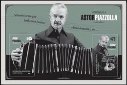 ! ARGENTINE / ARGENTINA: Astor Piazzolla / Music, Tango, Bandoneon / Musique (2018) MNH S/Sheet / *** Bloc Neuf / Block - Danza