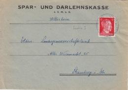P Lettre à Entête (S.u.D. Wittisheim) Obl (T332A Wittisheim Kr Schlettstadt A) Sur TP Reich 12pf=1°éch Le 20/12/43 - Marcophilie (Lettres)