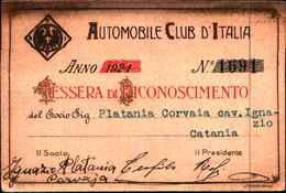 111) Tessera Dell'automobile Club D'italia Anno 1924 - Cars