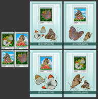 GUINEA 2019 - Butterflies. 4v + 4 S/S. Official Issue - Guinea (1958-...)
