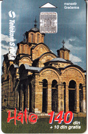 SERBIA - Gracanica Monastery, Telecom Srbija Telecard 140 Din, Chip SC7, Tirage 70000, 11/00, Used - Landschappen