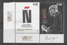 ARGENTINA 2019 ART LITERATURE JORGE L. BORGES WRITER,SPANISH LANGUAGE CONGRES MNH - Argentina