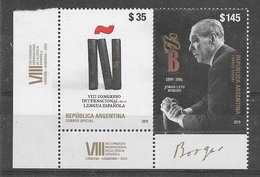 ARGENTINA 2019 ART LITERATURE JORGE L. BORGES WRITER,SPANISH LANGUAGE CONGRES MNH - Neufs