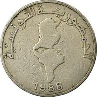 Monnaie, Tunisie, 1/2 Dinar, 1988, Paris, TB+, Copper-nickel, KM:318 - Tunisia