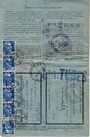1952- Formulaire N°13 P De La Caisse D'épargne ( Remboursement. Partiel ) Affr. 15 F Gandon + 6 + étiquette N°28 - Marcophilie (Lettres)